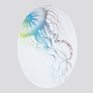 colorful jellyfish silhouette Oval Ornament